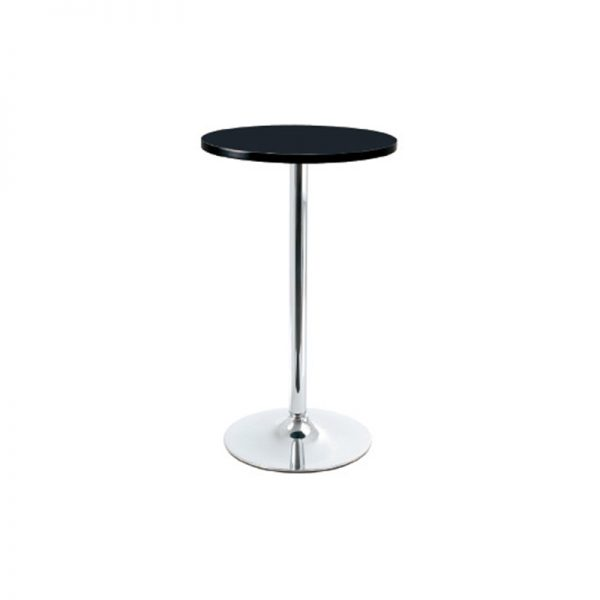 Bonetti Wood Poseur Tall Round Bar Table - Black