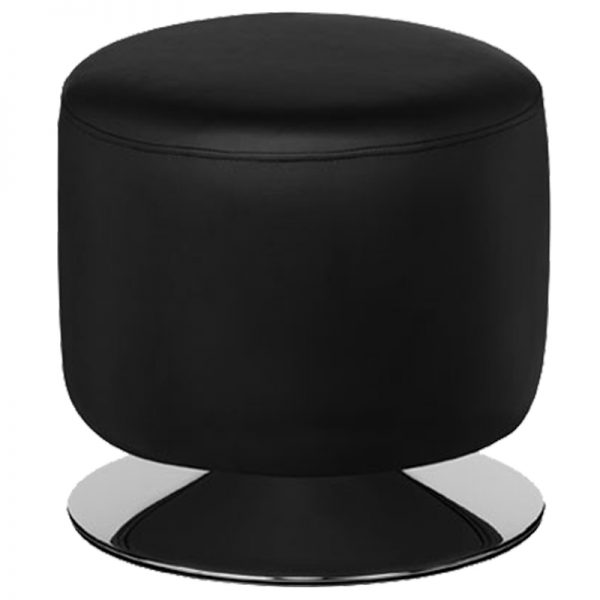 Cyclone Faux Leather Chrome Bar Stool - Black