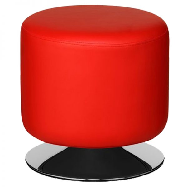 Cyclone Faux Leather Chrome Bar Stool - Red