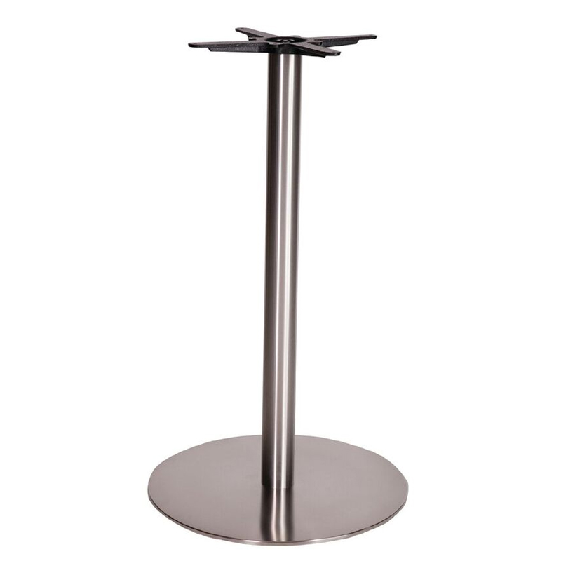 Daniella Round Brushed Steel Tall Bar Fixed Floor Commercial Table Base - 105cm