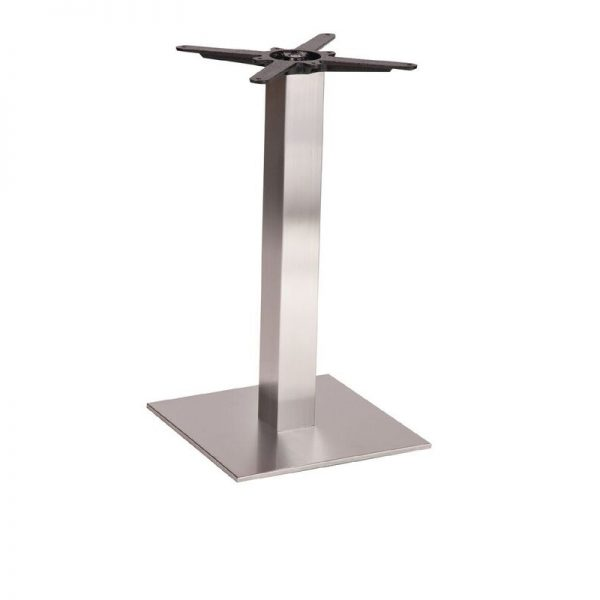 Daniella Square Brushed Steel Tall Bar Fixed Floor Commercial Table Base - 73cm x 40cm x 60cm