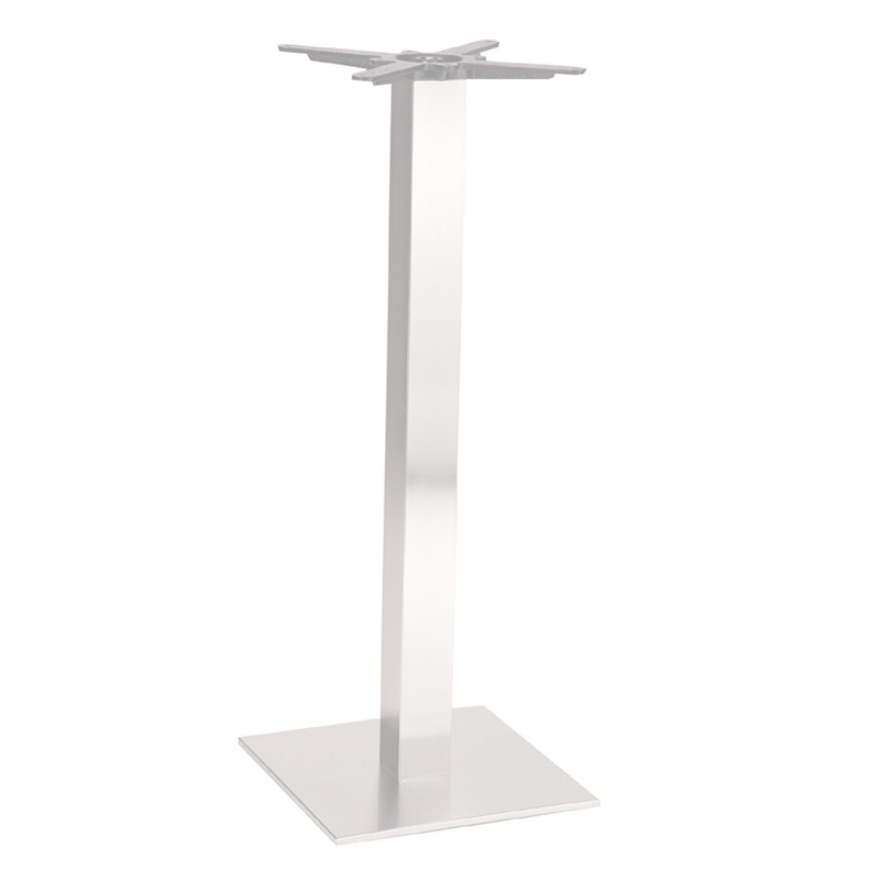 Daniella Square Brushed Steel Tall Bar Fixed Floor Commercial Table Base - 105cm x 40cm x 60cm