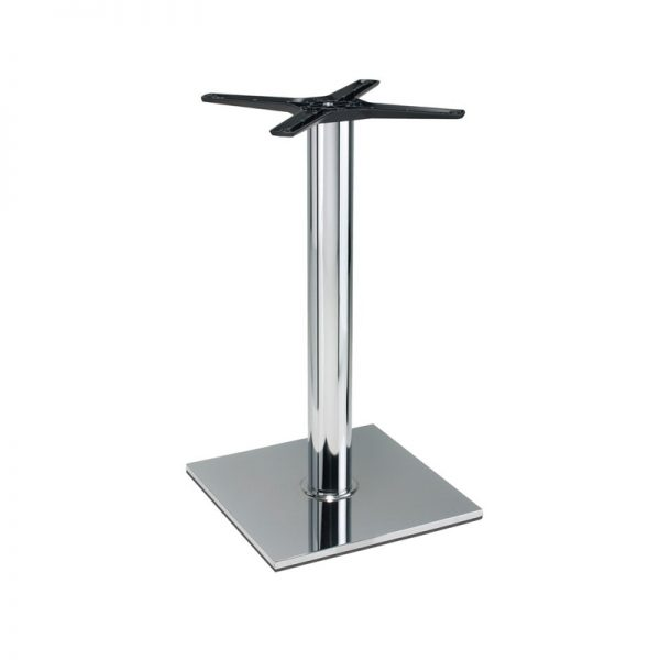 Lucci Cruciform Chrome Square Tall Bar Fixed Floor Commercial Table Base - Chrome - 73cm