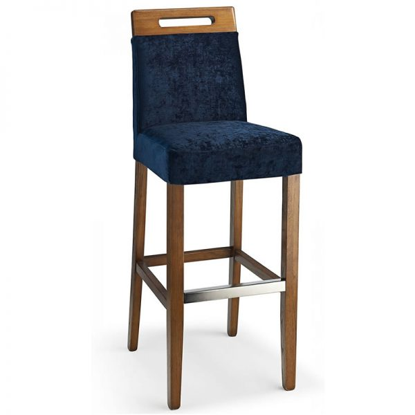 Modosi Fabric and Wood Dining Chair - Navy
