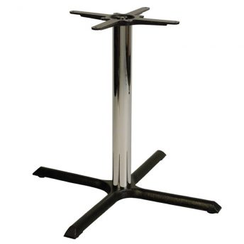 Elliot Cruciform Cast Iron Bar Fixed Floor Commercial Table Base - Chrome - 73cm