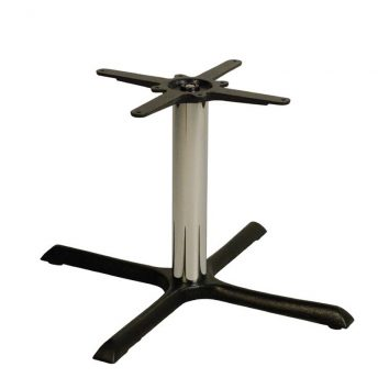 Elliot Cruciform Cast Iron Bar Fixed Floor Commercial Table Base - Chrome - 84cm