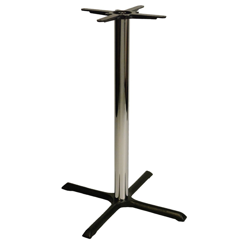 Elliot Cruciform Cast Iron Bar Fixed Floor Commercial Table Base - Chrome - 105cm