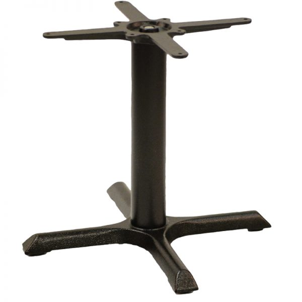 Elliot Cruciform Cast Iron Tall Bar Fixed Floor Commercial Table Base - Black - 48cm