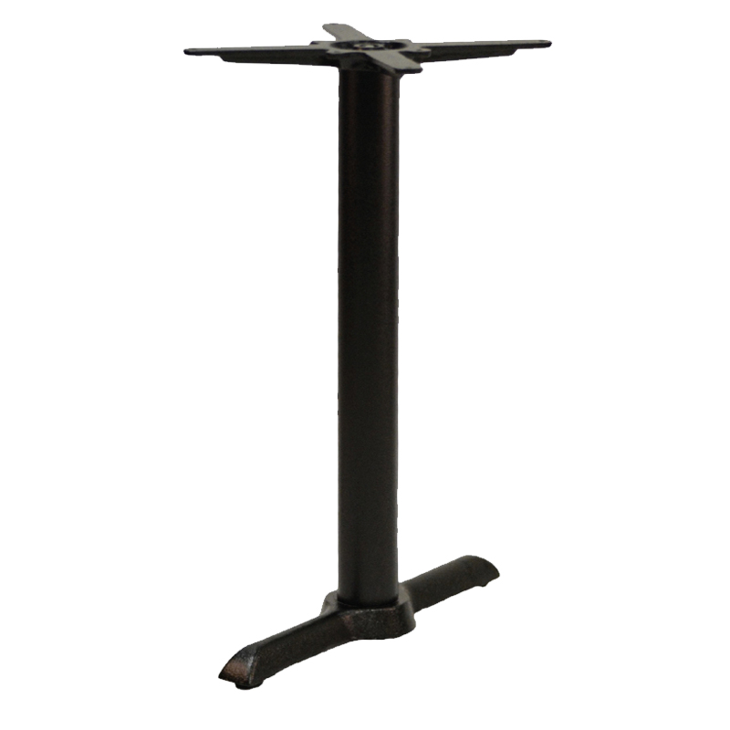 Elliot Cruciform Twin Cast Iron Bar Fixed Floor Commercial Table Base - Black - 73cm