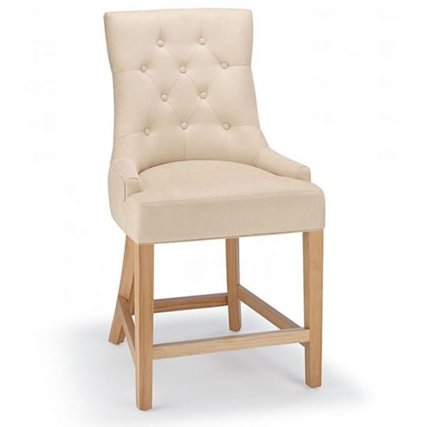 Rochjo Fabric Wooden Kitchen Bar Stool - Cream