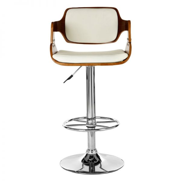 Superi Chrome Kitchen Bar Stool - White