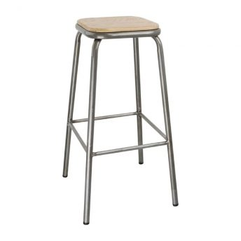 4 x Sparrow Galvanised High Stool - Wood Seat