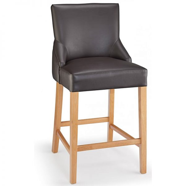 Vandora Oak Wood and Padded Fabric Kitchen Bar Stool - Brown