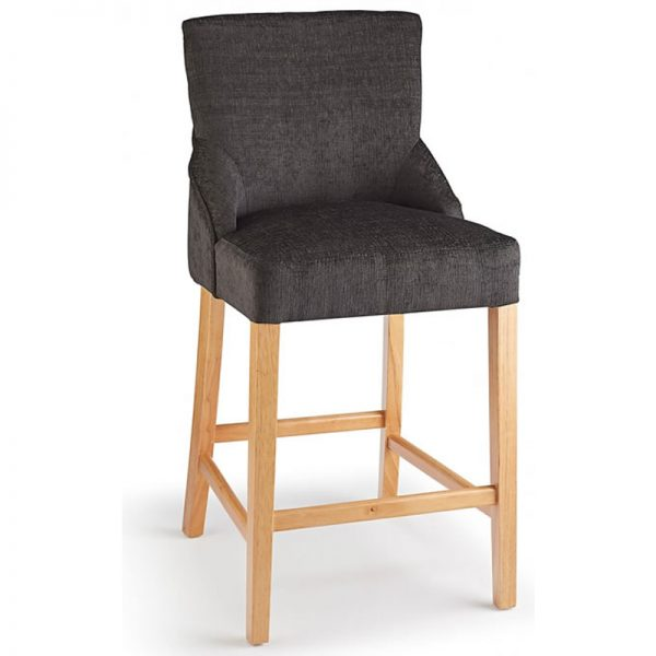 Vandora Oak Wood and Padded Fabric Kitchen Bar Stool - Charcoal