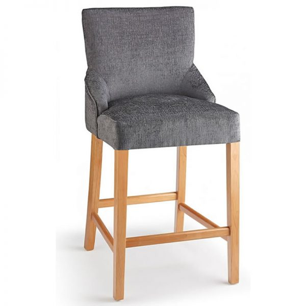 Vandora Oak Wood and Padded Fabric Kitchen Bar Stool - Grey