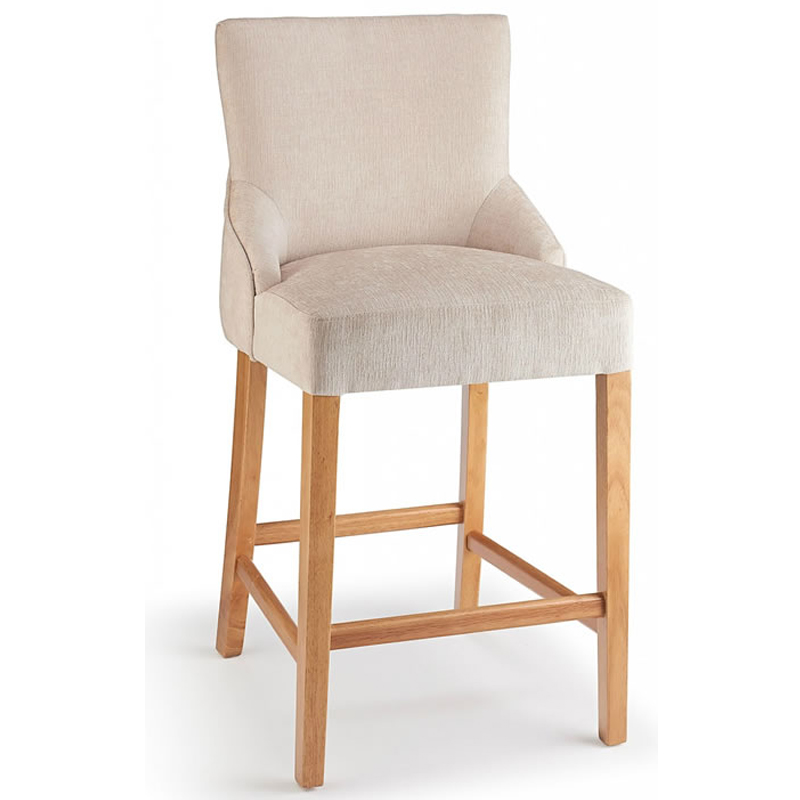 Vandora Oak Wood and Padded Fabric Kitchen Bar Stool - White
