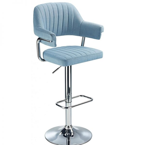 Vibe Retro Chrome Kitchen Bar Stool - Blue