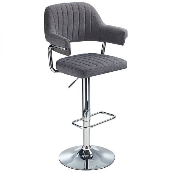 Vibe Retro Chrome Kitchen Bar Stool - Charcoal