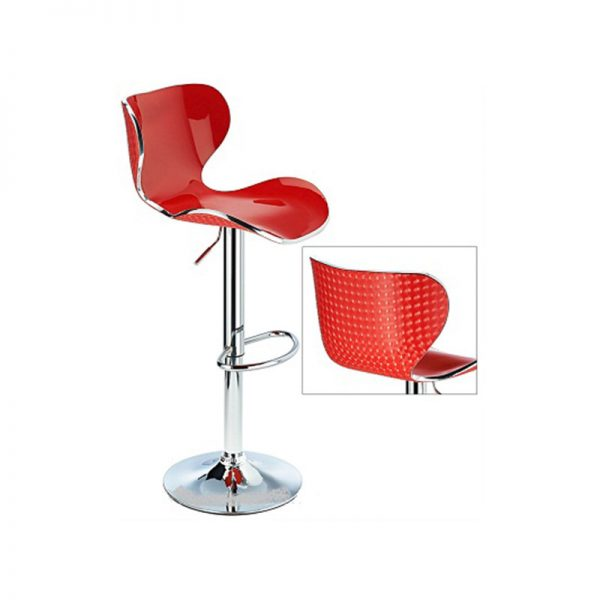 Vercelli Transparent Acrylic Adjustable Kitchen Bar Stool - Red