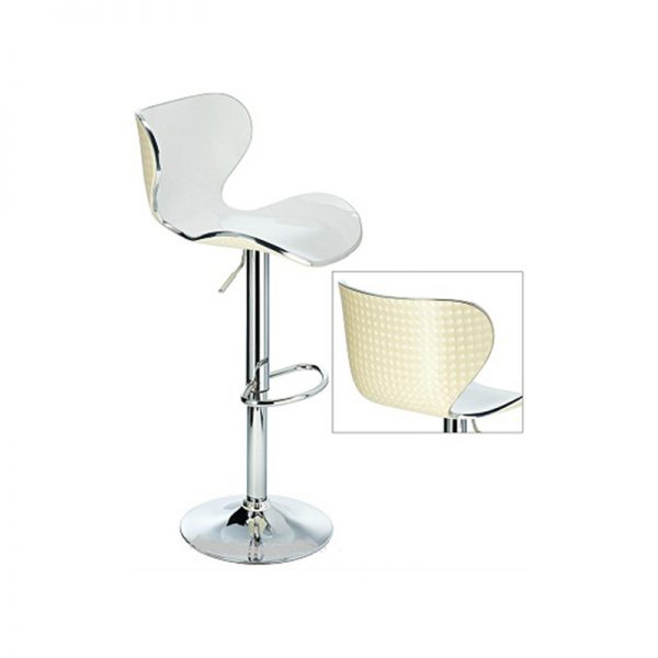 Vercelli Transparent Acrylic Adjustable Kitchen Bar Stool - White