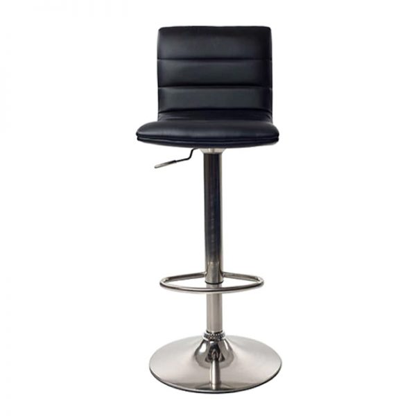 Majorca Brushed Chrome Bar Stool - Black