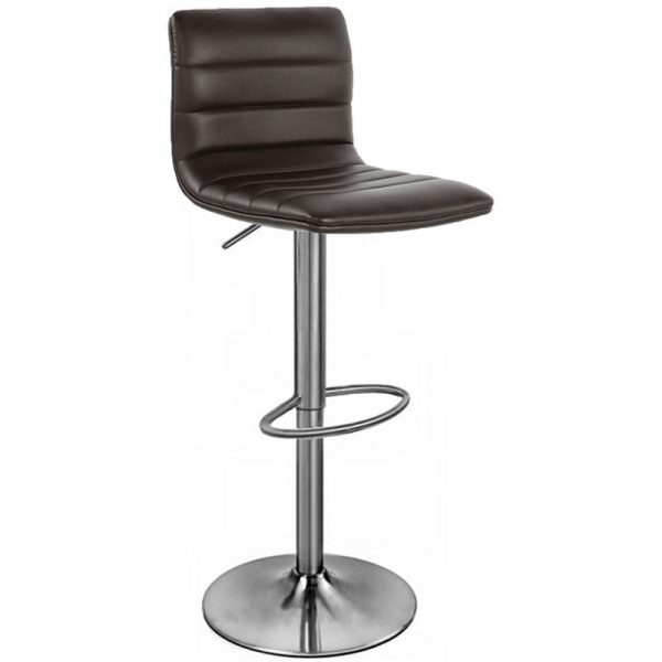 Majorca Brushed Chrome Bar Stool - Brown