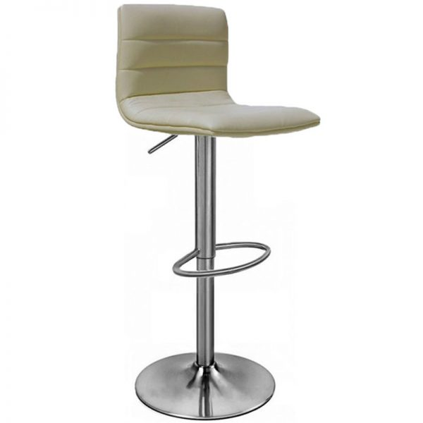 Majorca Brushed Chrome Bar Stool - Cream