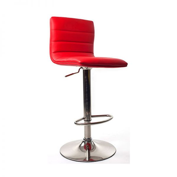 Majorca Brushed Chrome Bar Stool - Red