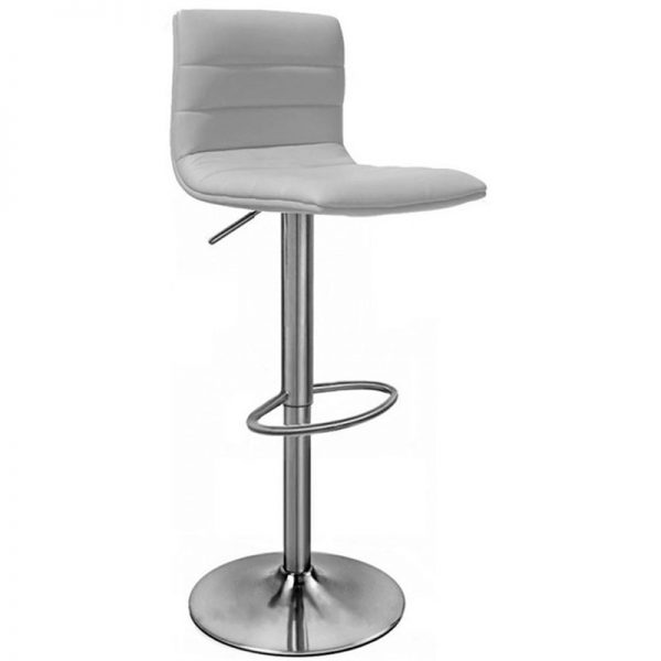 Majorca Brushed Chrome Bar Stool - White