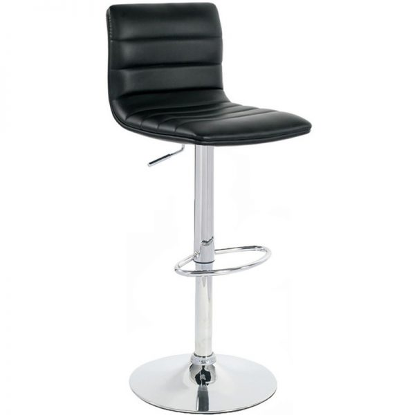 Majorca Chrome Bar Stool - Black