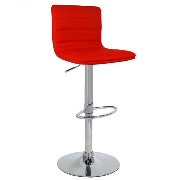 Majorca Chrome Bar Stool - Red