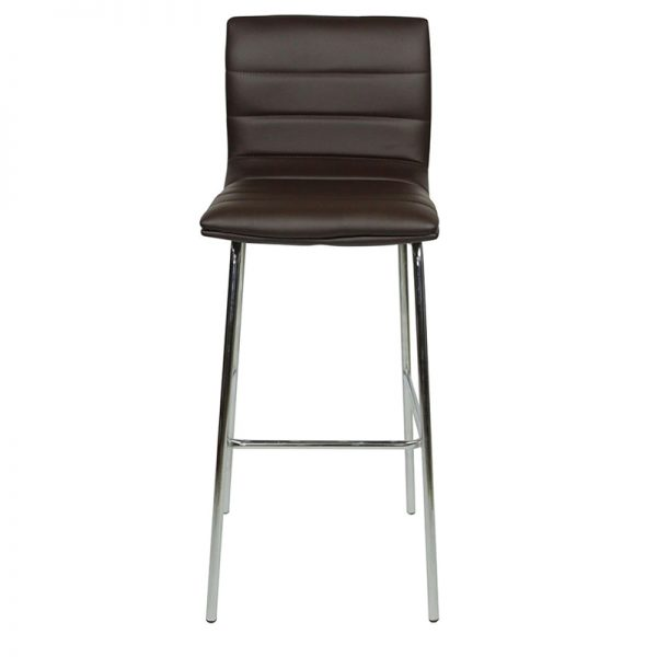 Pair of Majorca Straight Chrome Bar Stool - Brown