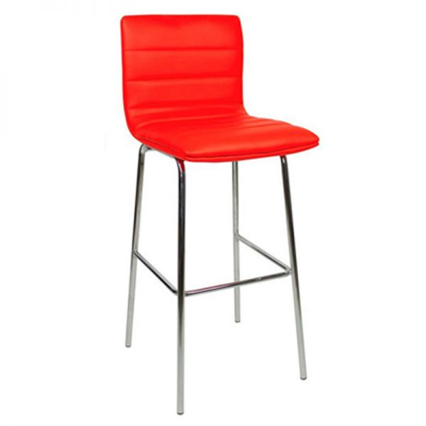 Pair of Majorca Straight Chrome Bar Stool - Red