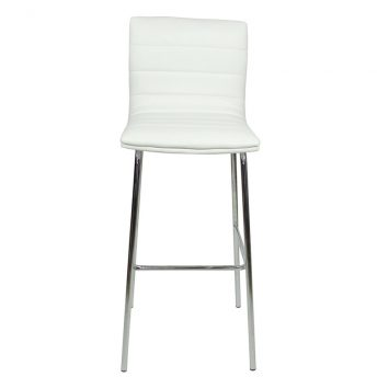 Pair of Majorca Straight Chrome Bar Stool - White