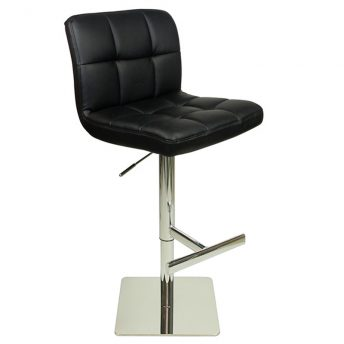Azagi Weighted Real Leather Kitchen Bar Stool - Black