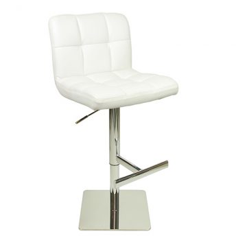 Azagi Weighted Real Leather Kitchen Bar Stool - White