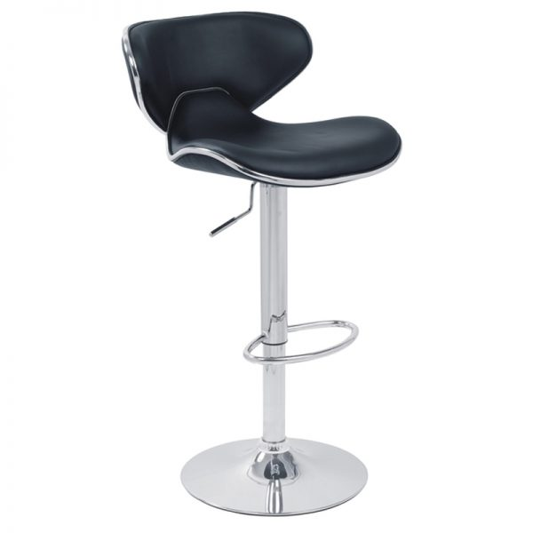 Caribbean Chrome Adjustable Bar Stool - Black