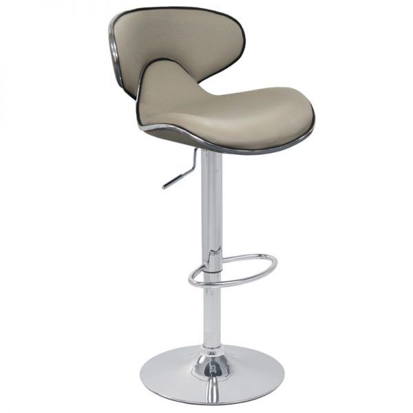 Caribbean Chrome Adjustable Bar Stool - Grey