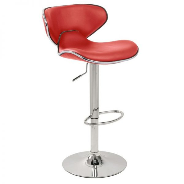 Caribbean Chrome Adjustable Bar Stool - Red