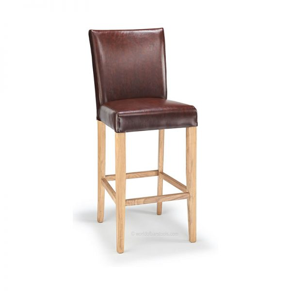 Deule Real Leather Kitchen Bar Stool - Antique Brown