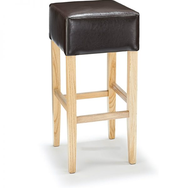 Rhone Aniline Real Leather Breakfast Bar Stool - Brown and Oak