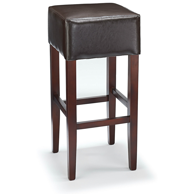 rhone backless real leather breakfast bar stool brown and walnut