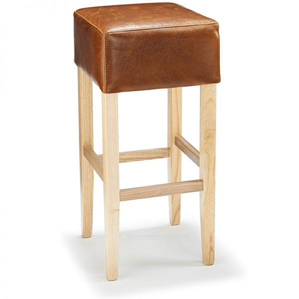 Rhone Aniline Real Leather Breakfast Bar Stool - Tan And Oak