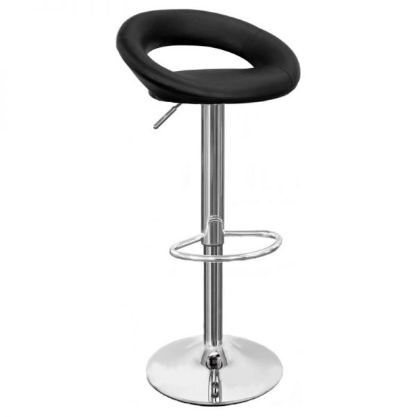 Sora Real Leather Kitchen Bar Stool - Black