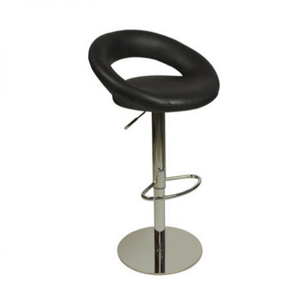 Sora Weighted Real Leather Kitchen Bar Stool - Black