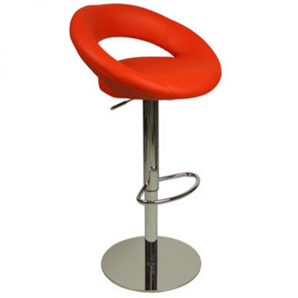 Sora Weighted Real Leather Kitchen Bar Stool - Red