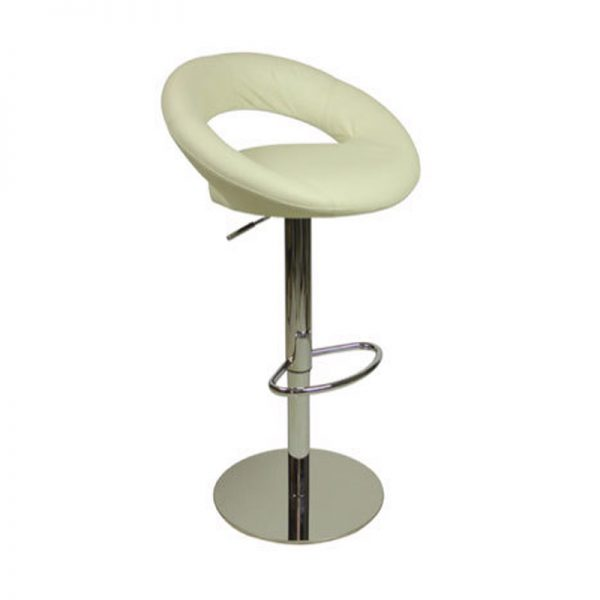 Sora Weighted Real Leather Kitchen Bar Stool - White