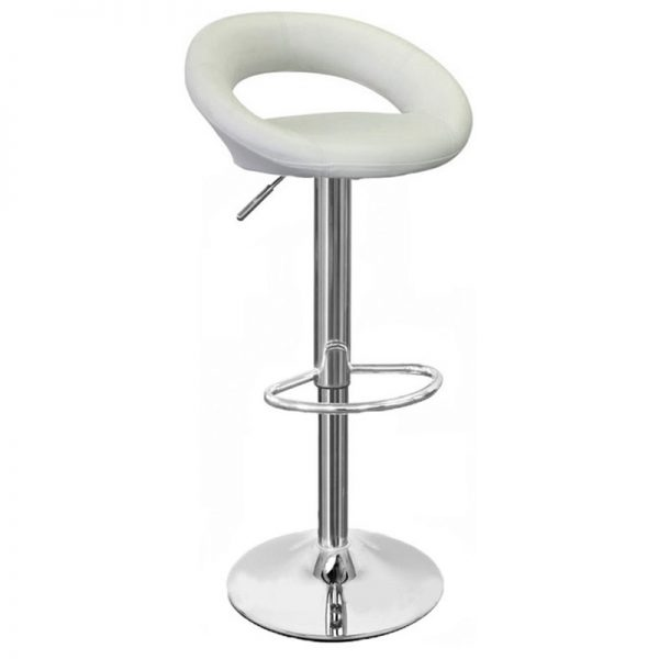 Sora Real Leather Kitchen Bar Stool - White