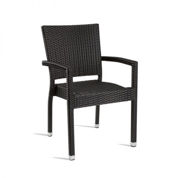 Tazimo PE Wicker Arm Chair Kitchen Bar Stool - Black