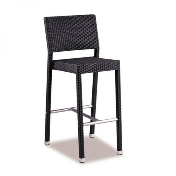 Tazimo PE Wicker Tall Kitchen Bar Stool - Black
